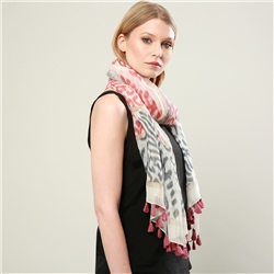 Magee 1866 Rose & Grey Cotton Blend Scarf