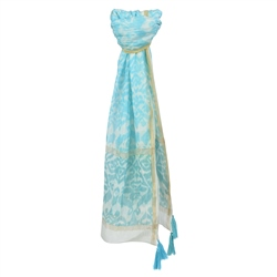 Magee 1866 Blue Print Cotton Blend Scarf