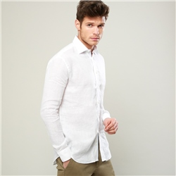 Magee 1866 White Cashel Linen Classic Fit Shirt