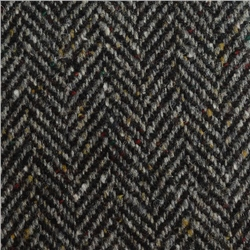 Magee 1866 Grey & Black Herringbone Flecked Donegal Tweed