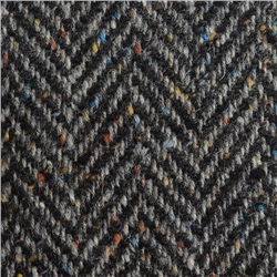 Magee 1866 Black & Grey Herringbone Flecked Donegal Tweed