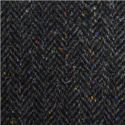 Magee 1866 Black & Grey Herringbone, Flecked Donegal Tweed