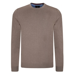 Magee 1866 Taupe Carn Crew Neck Classic Fit Jumper