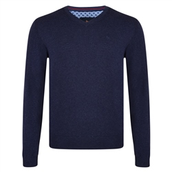 Magee 1866 Navy Carn Cotton V Neck Jumper