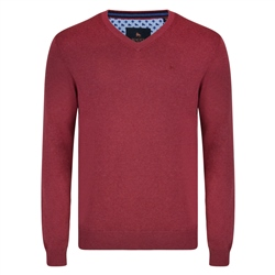 Magee 1866 Raspberry Carn Cotton V Neck Classic Fit Jumper