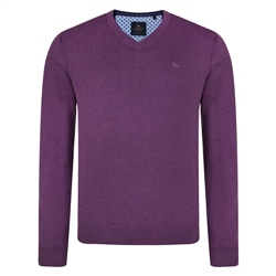 Magee 1866 Purple Carn Cotton V Neck Classic Fit Jumper