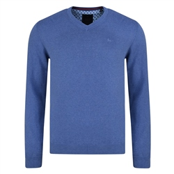 Magee 1866 Blue Carn Cotton V Neck Classic Fit Jumper