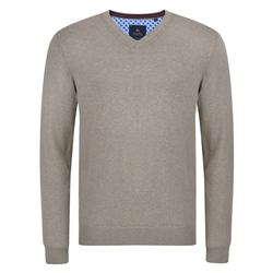 Magee 1866 Taupe Carn Cotton V Neck Classic Fit Jumper