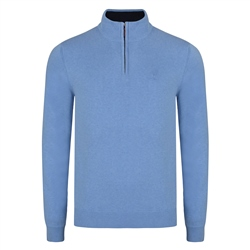 Magee 1866 Blue Carn Cotton 1/4 Zip Neck Classic Fit Jumper