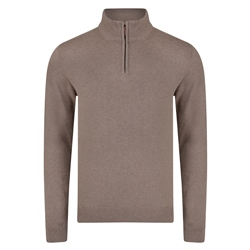 Magee 1866 Taupe Carn Cotton 1/4 Zip Neck Classic Fit Jumper