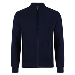 Magee 1866 Navy Faugher Cotton Structure Full Zip Classic Fit Jumper