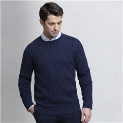 Magee 1866 Navy Carn Cotton Cable Crew Jumper