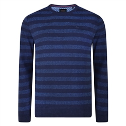 Magee 1866 Navy Carn Tonal Stripe Crew Neck Classic Fit Jumper