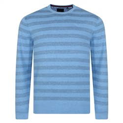 Magee 1866 Blue Carn Cotton Tonal Stripe Crew Neck Jumper