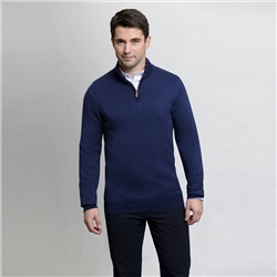 Magee 1866 Navy Cotton Birdseye Quarter Zip Classic Fit Sweater