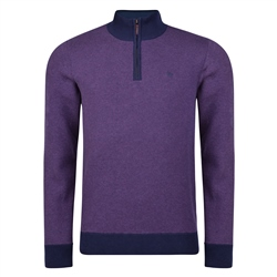 Magee 1866 Purple Cotton Birdseye Quarter Zip Classic Fit Sweater