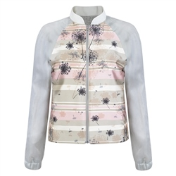 Magee 1866 Cream & Pink Dandelion Print Bomber Jacket