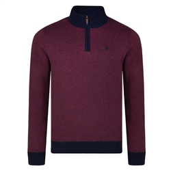 Magee 1866 Raspberry Cotton Birdseye Quarter Zip Classic Fit Sweater