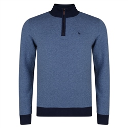Magee 1866 Blue Cotton Birdseye Quarter Zip Classic Fit Sweater