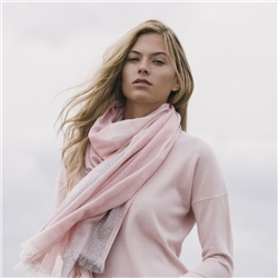Magee 1866 Pink & Grey Cotton & Silk Striped Scarf