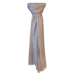 Magee 1866 Blue & Camel Cotton & Silk Striped Scarf