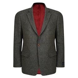 Green Handwoven Salt & Pepper Donegal Tweed Classic Fit Jacket