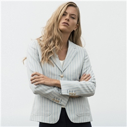 Magee 1866 Blue & White Striped Alicia Patch Pocket Blazer