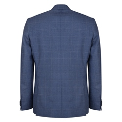 Blue Windowpane Checked 3-Piece Tailored Fit Suit