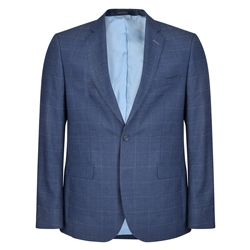 Magee 1866 Blue Windowpane Checked 3-Piece Tailored Fit Suit