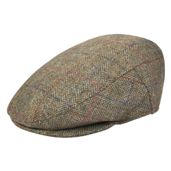 Oat Herringbone Donegal Tweed Flat Cap