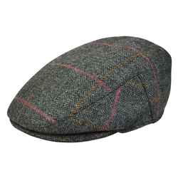 Grey Check Donegal Tweed Flat Cap
