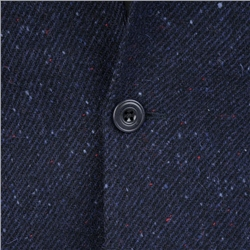 Navy Handwoven Flecked Donegal Tweed Tailored Fit Jacket