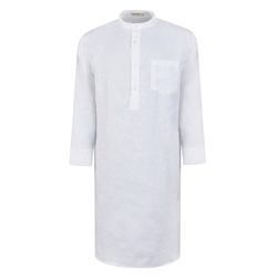 Magee 1866 White Grandfather Linen Night Shirt