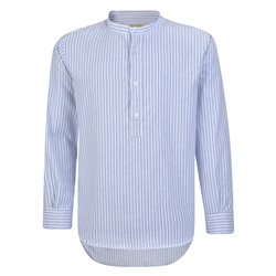 Magee 1866 Blue & White Striped Irish Cotton Grandfather Shirt