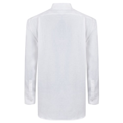 White Irish Linen Grandfather Shirt