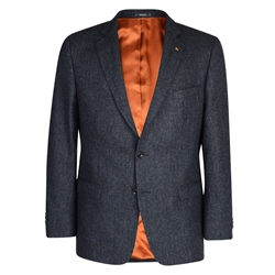 Magee 1866 Charcoal & Blue Herringbone Donegal Tweed Classic Fit Blazer