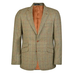 Magee 1866 Green Herringbone Checked Donegal Tweed Classic Fit Blazer