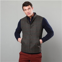 Magee 1866 Dark Green Cavan Checked Wool Tailored Fit Gilet