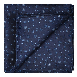 Magee 1866 Flower Print, Navy & Blue Silk Pocket Square