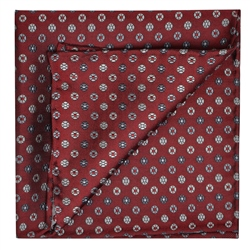 Magee 1866 Flower Print, Red, Silver & Grey Pocket Square