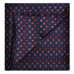 Magee 1866 Navy, Red & Pink Silk Pocket Square