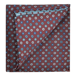 Magee 1866 Flower Print Burgundy & Blue Silk Pocket Square