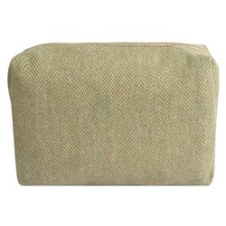 Magee 1866 Medium Green & Oat Herringbone Donegal Tweed Make-Up Bag