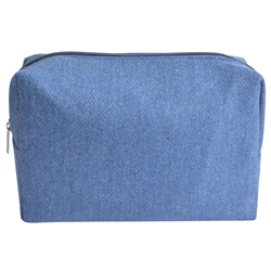 Magee 1866 Medium Blue Herringbone Donegal Tweed Make-Up Bag