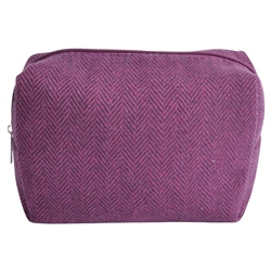 Magee 1866 Medium Purple Herringbone Donegal Tweed Make-Up Bag