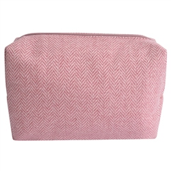 Magee 1866 Medium Pale Pink Herringbone Donegal Tweed Make-Up Bag