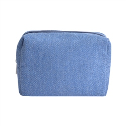 Magee 1866 Small Blue Herringbone Donegal Tweed Make-Up Bag