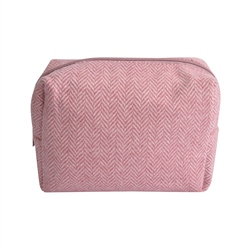 Magee 1866 Small Pale Pink Herringbone Donegal Tweed Make-Up Bag