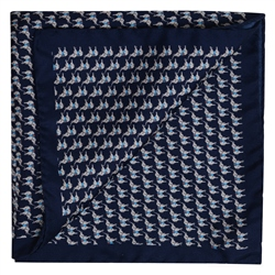Magee 1866 Navy Elephant Print Pocket Square