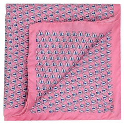 Magee 1866 Pink Elephant Print Silk Pocket Square